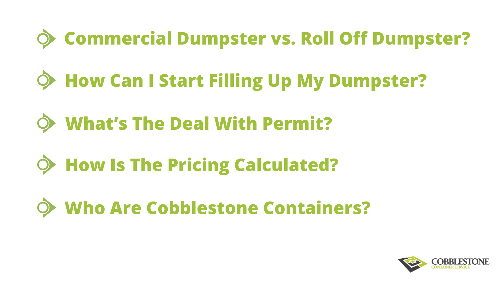 Questions About Commercial Dumpsters